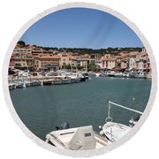 Harbor Cassis Round Beach Towel