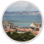 Harbor Entrance Marseille Round Beach Towel