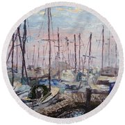 Harbor In Early Morning Round Beach Towel