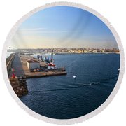 harbor in Porto Torres Round Beach Towel