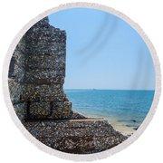 Harbor Island Ruins 1 Round Beach Towel
