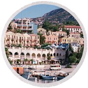 Harbor, Kalkan, Turkey Round Beach Towel