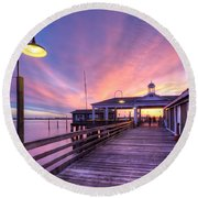 Harbor Lights Round Beach Towel