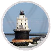 Harbor Of Refuge Light  And Breakwater Round Beach Towel