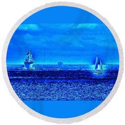 Harbor Of Refuge Lighthouse And Sailboat Abstract Round Beach Towel