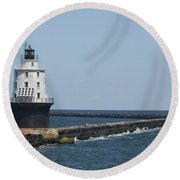 Harbor Of Refuge Lighthouse II Round Beach Towel