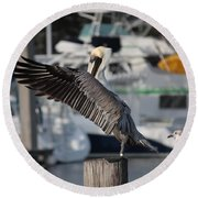 Harbor Pelican And Gull Round Beach Towel
