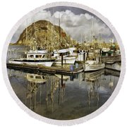 Harbor Reflection Impasto Round Beach Towel