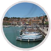 Harbor Scene Cassis  Round Beach Towel
