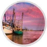Harbor Sunset Round Beach Towel by Debra and Dave Vanderlaan