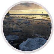 Harbor Sunset Round Beach Towel