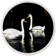 Harbor Swans Round Beach Towel
