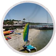 Harbor Town Beach 2 In Hilton Head Round Beach Towel