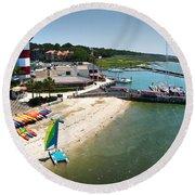 Harbor Town Beach 3 In Hilton Head Round Beach Towel