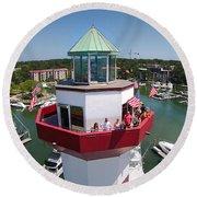 Harbor Town Lighthouse In Hilton Head Round Beach Towel