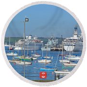 Harbour And Queen's Wharf - Falmouth Round Beach Towel