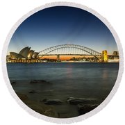 Harbour Night Round Beach Towel