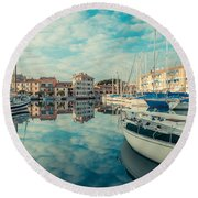 Harbour Of Grado Round Beach Towel
