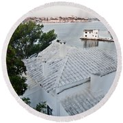 Port Mahon View With A Villa Called Venecia - Harbour Of My Dreams Round Beach Towel