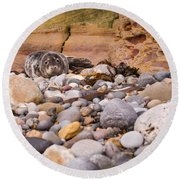 Harbour Seal On Pebble Beach Round Beach Towel