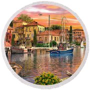 Harbour Sunset Round Beach Towel