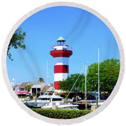 Harbour Town Lighthouse Round Beach Towel