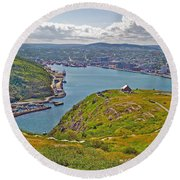 Harbour View From Signal Hill National Historic Site In Saint John's-nl Round Beach Towel