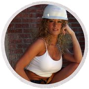 Hard Hat Round Beach Towel