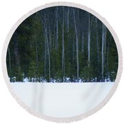 Hard Line Winter Round Beach Towel