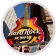 Hard Rock Cafe Guitar Sign In Philadelphia Round Beach Towel