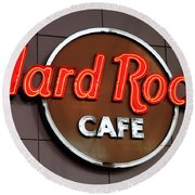 Hard Rock Cafe Sign Round Beach Towel