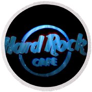 Hard Rock Neon In Space Round Beach Towel