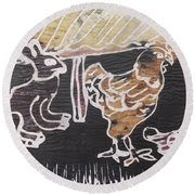 Hare And Cock Are Under The Shed Hut Round Beach Towel