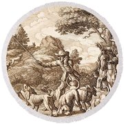 Hare Hunting, Engraved By Wenceslaus Round Beach Towel