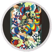 Harlequins Acting Weird - Why?... Round Beach Towel