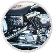 Harley Black And Silver Sideview Round Beach Towel