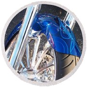 Harley Close-up Blue Flame  Round Beach Towel