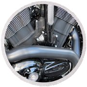 Harley Close-up Engine Close-up 1 Round Beach Towel