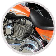 Harley Close-up Orange 1 Round Beach Towel