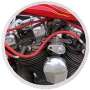 Harley Close-up Pink And Red Flames Round Beach Towel