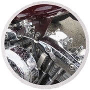 Harley Close-up Possessed Round Beach Towel