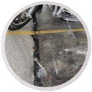 Harley Close-up Rain Reflections Tall Round Beach Towel