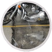 Harley Close-up Rain Reflections Wide Round Beach Towel