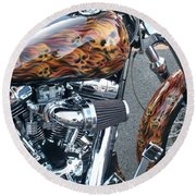 Harley Close-up Skull Flame  Round Beach Towel