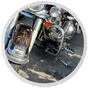 Harley Close-up W Shadow 1 Round Beach Towel