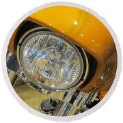 Harley Close-up Yellow 2 Round Beach Towel