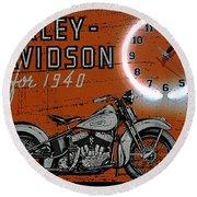 Harley Davidson 1940s Sign Round Beach Towel