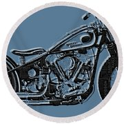 Harley-davidson And Words Round Beach Towel