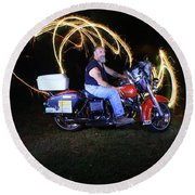 Harley Davidson Light Painting Round Beach Towel