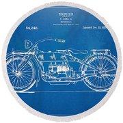Harley-davidson Motorcycle 1919 Patent Artwork Round Beach Towel by Nikki Marie Smith